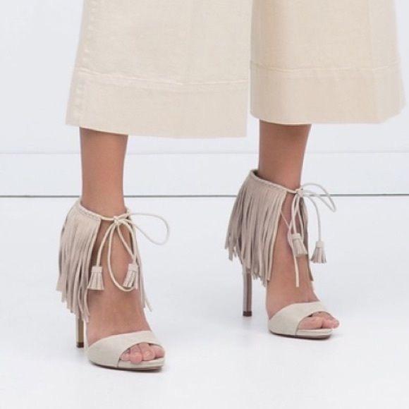 9c6cfc5baaf Zara beige   creme fringe heels. M 5aecfe80c9fcdfb4133f159a